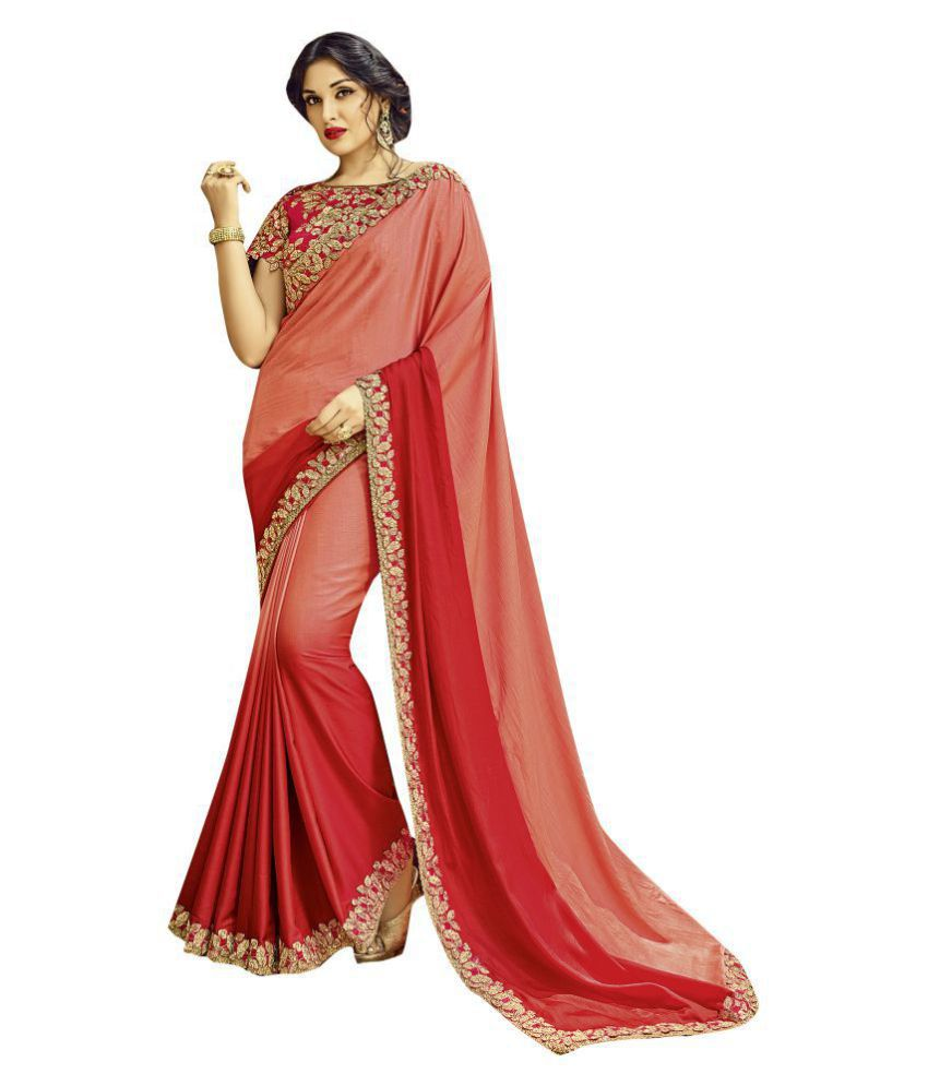 Shaily Retails Red Satin Saree