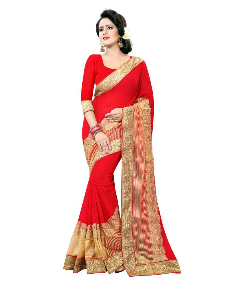 KAD CREATIONS Red Georgette Saree