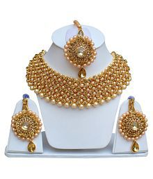 Lucky Jewellery Elegant Golden Color Gold Plated Pearl And Stone Necklace Set For Girls & Women