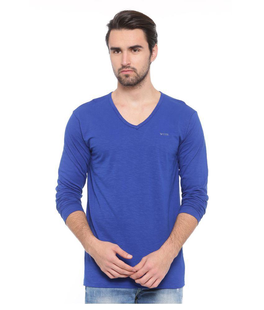 SHOWOFF blue V-Neck T-Shirt