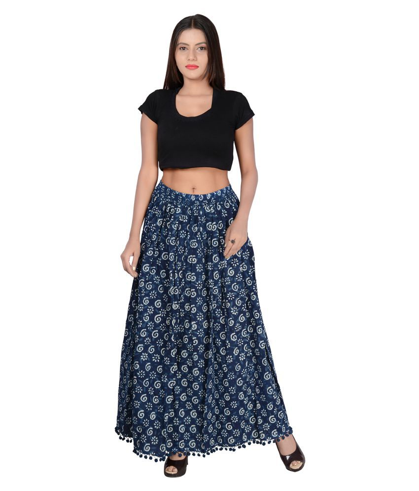 7e0265d5f77 Buy fabcolors Cotton A-Line Skirt - Blue Online at Best Prices in India -  Snapdeal