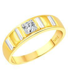 Vighnaharta Beautifully Crafted Solitaire Band CZ Gold and Rhodium Plated Alloy Ring for Women and Girls - [VFJ1301FRG15]
