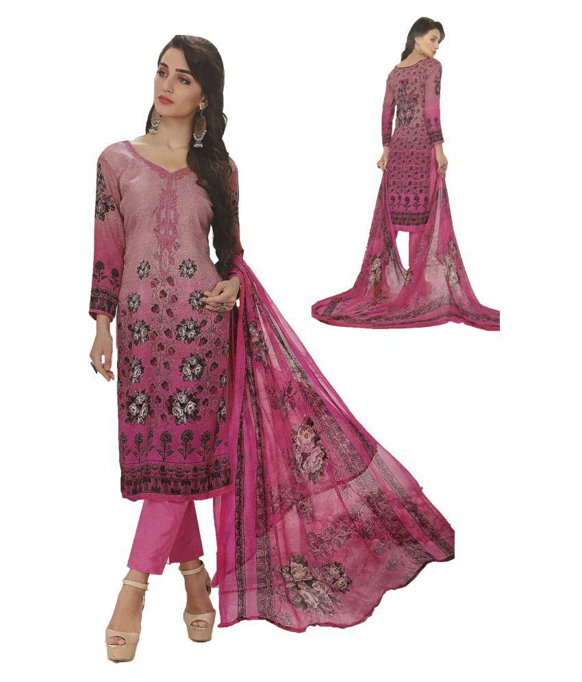 Rupali Pink Woollen Dress Material