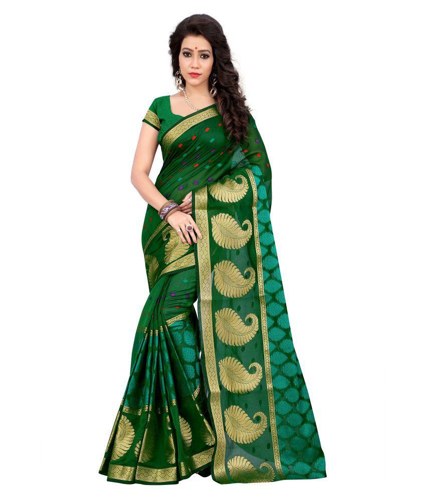 Saloni Designer Green Cotton Silk Saree