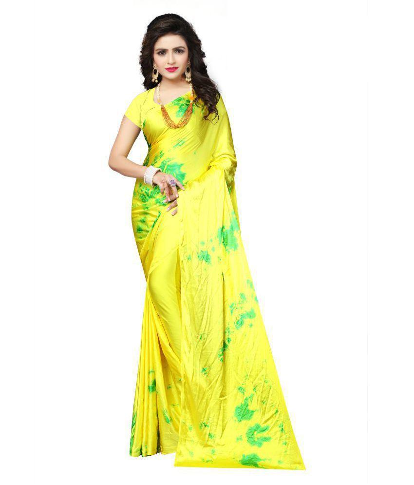 Saloni Designer Yellow Satin Saree