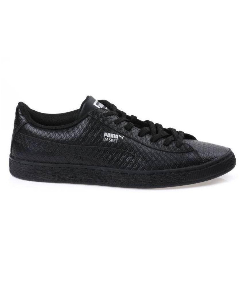 Puma Men Basket Classic B&W IDP Sneakers Black Casual Shoes