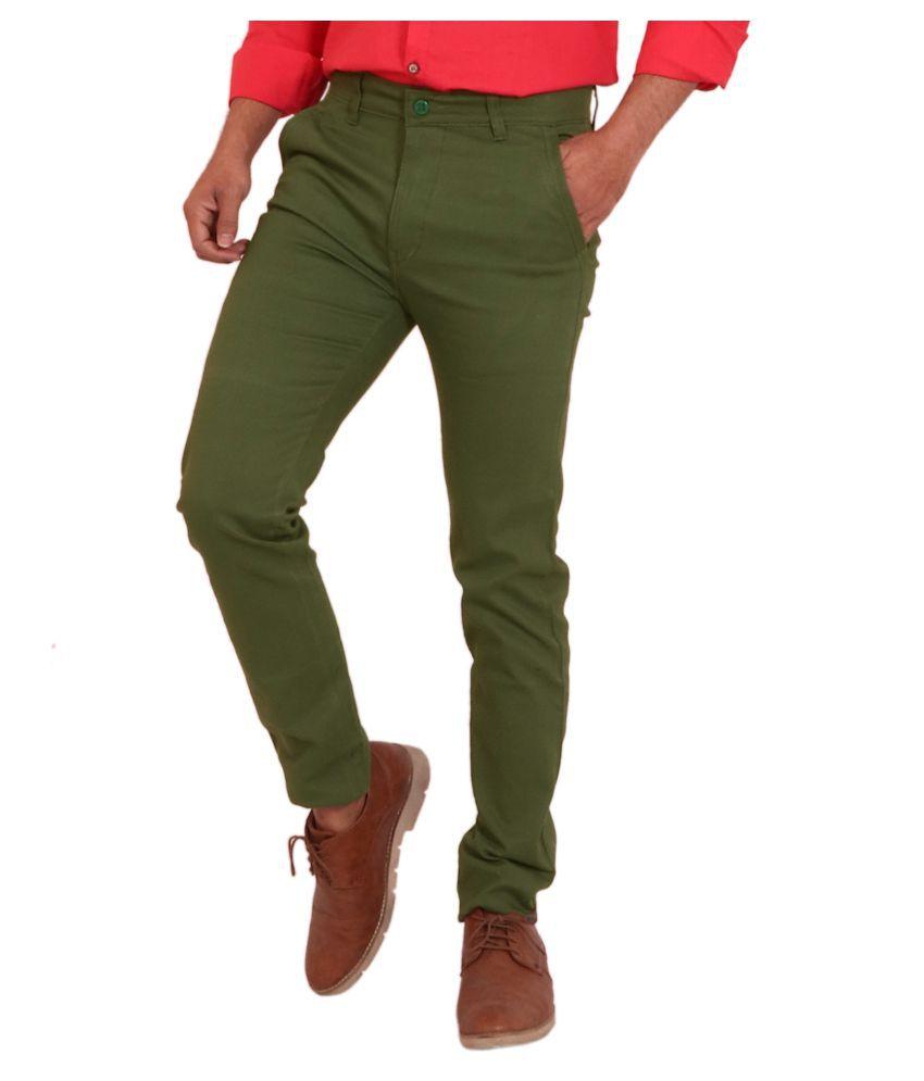 REDMAPLEJEANS Green Regular -Fit Flat Trousers