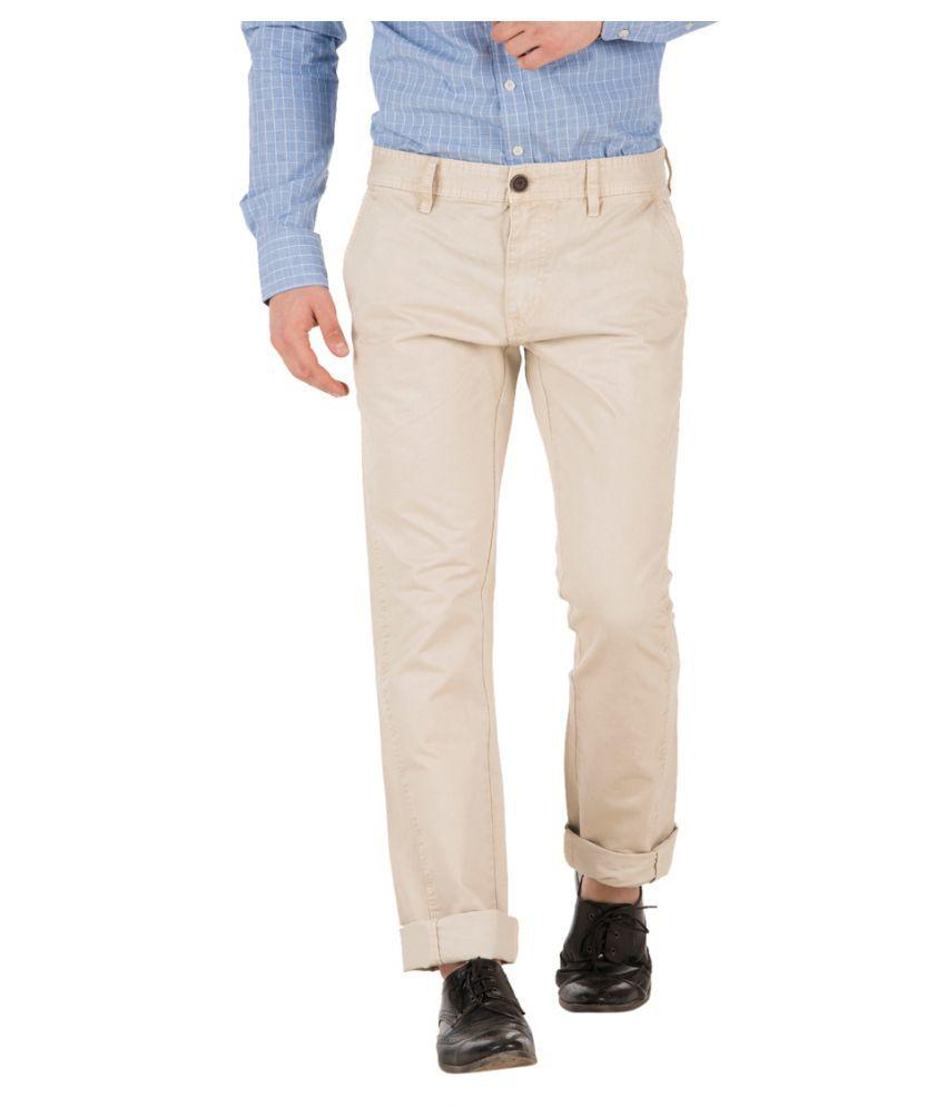 Fast n Fashion Beige Regular -Fit Flat Trousers