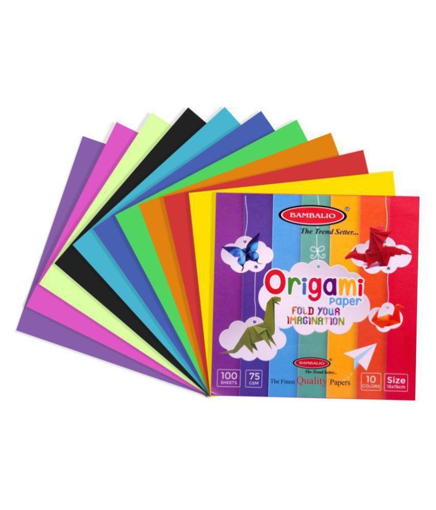 Bambalio Origami Paper Pack Of 400 Sheets Smooth Finish 75 Gsm 15x15