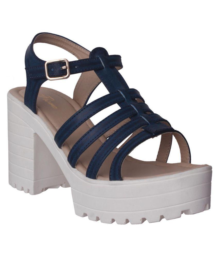 Flora Blue Block Heels