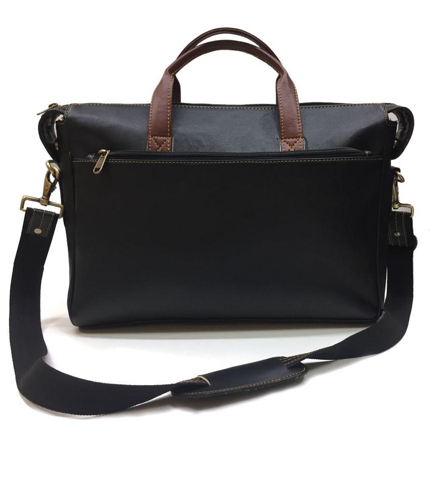 00d70fde8d ... Home Story Black P.U.Leather Office bag Laptop Bag - 15.6 Inch Side Bag  ...