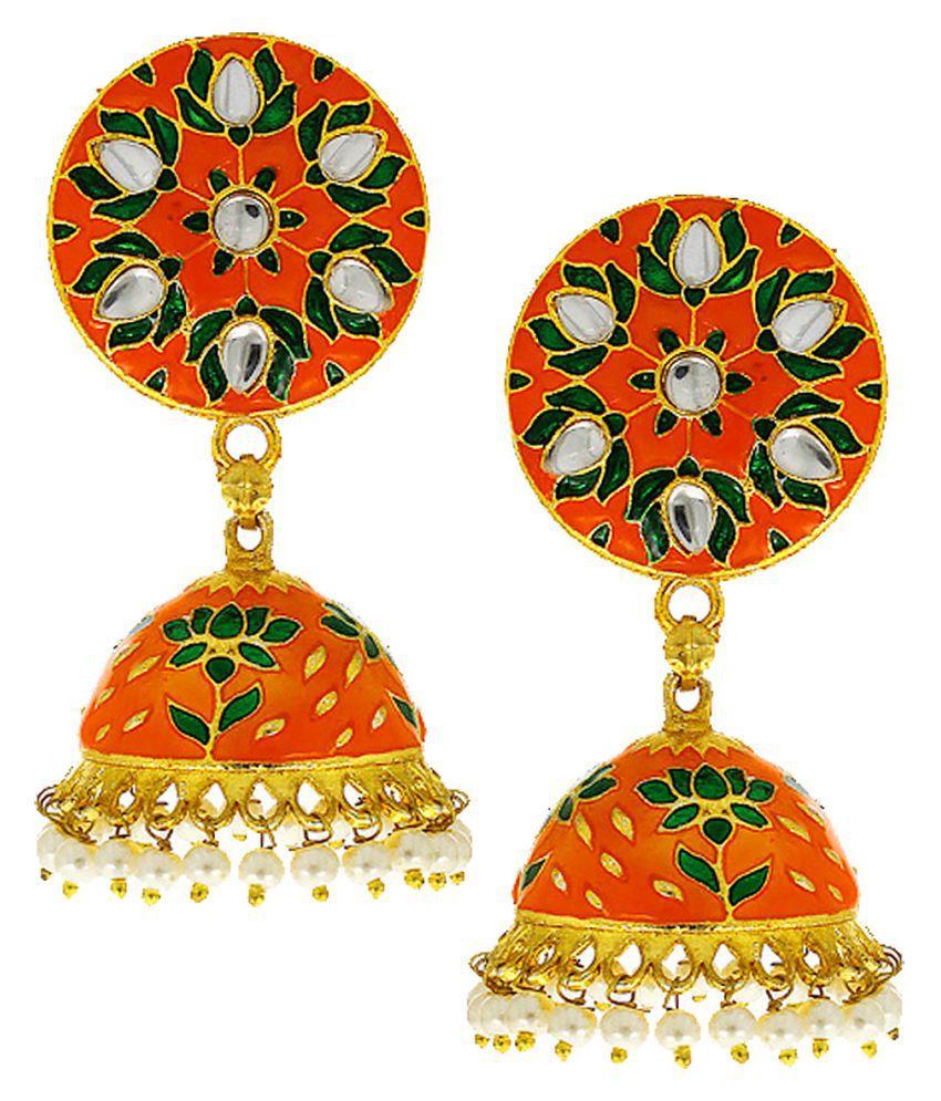 Anuradha Art Green-Orange Combination Styled With Mina Work Wonderful Designer Traditional Jhumki/Jhumkas Earrings For Women/Girls