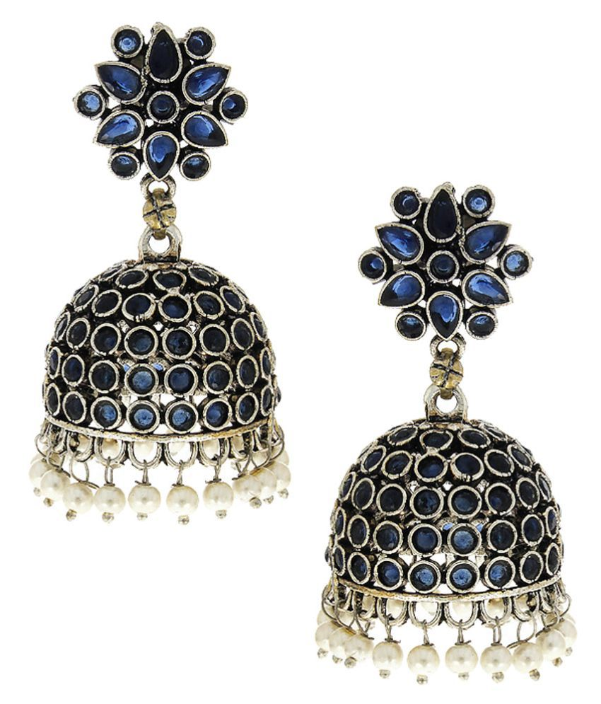 Anuradha Art Silver Finish Blue Colour Fancy Party Wear Designer Oxidised Jhumki/Jhumkas Earrings For Women/Girls