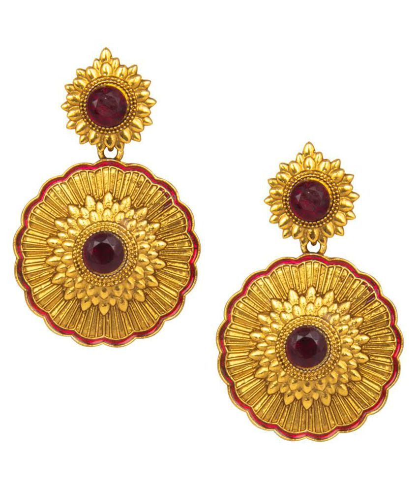 Om Jewells Gold Plated Antique Floral inspired Crystal Jewellery Drop Earrings for girls and women ER1000072