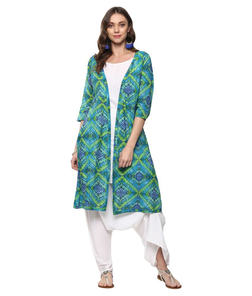 Vedic Green Cotton A-line Stitched Suit