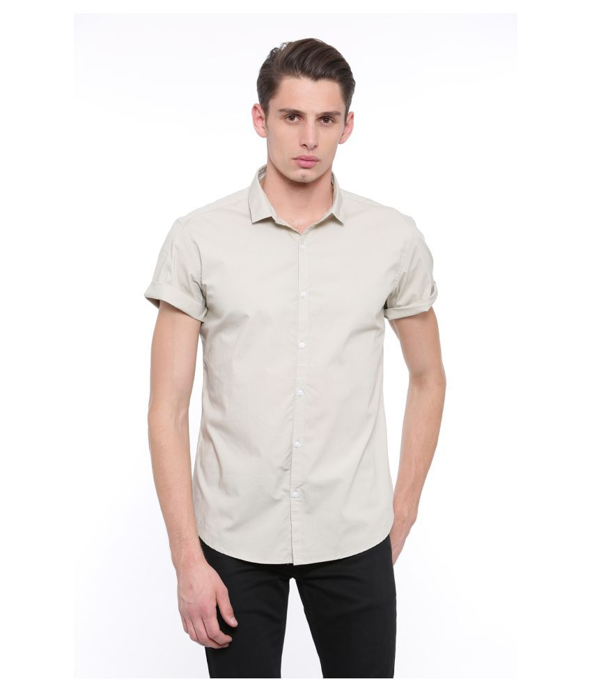 showoff Beige Slim Fit Shirt