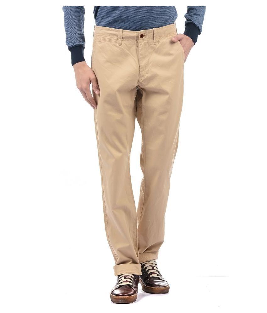Gant Beige Regular -Fit Flat Trousers