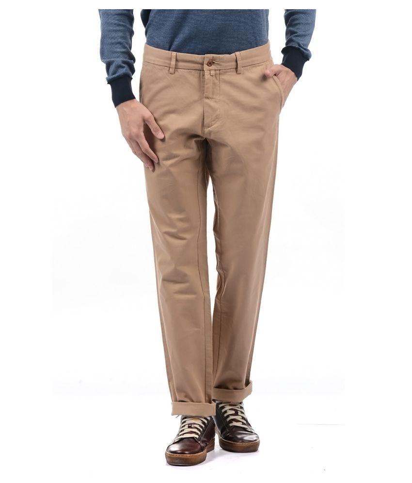 Gant Brown Regular -Fit Flat Trousers
