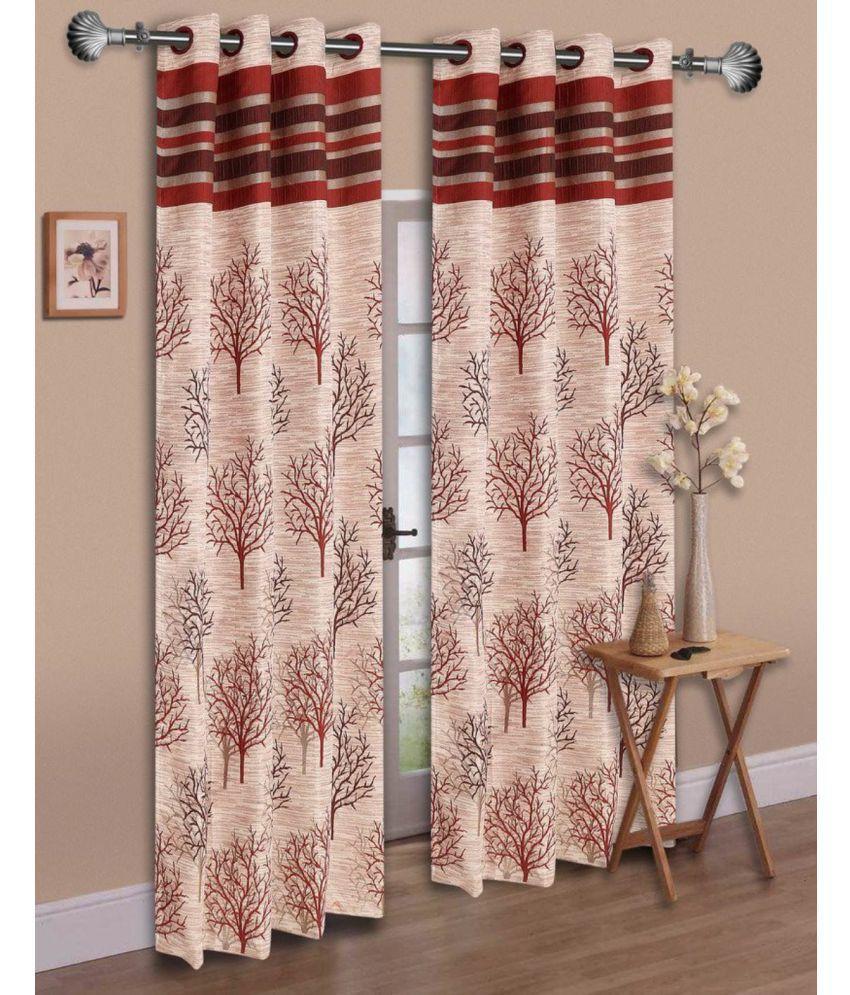Fresh From Loom Set of 2 Window Eyelet Curtains Printed Beige