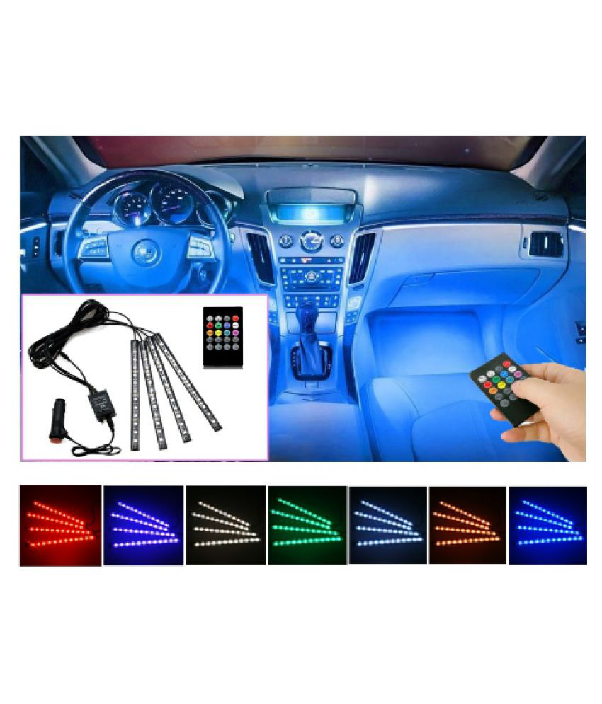 Universal Car Decorative Mood Lights for Multicolour Atmosphere for Car with Remote - Fits without tampering Electrical system