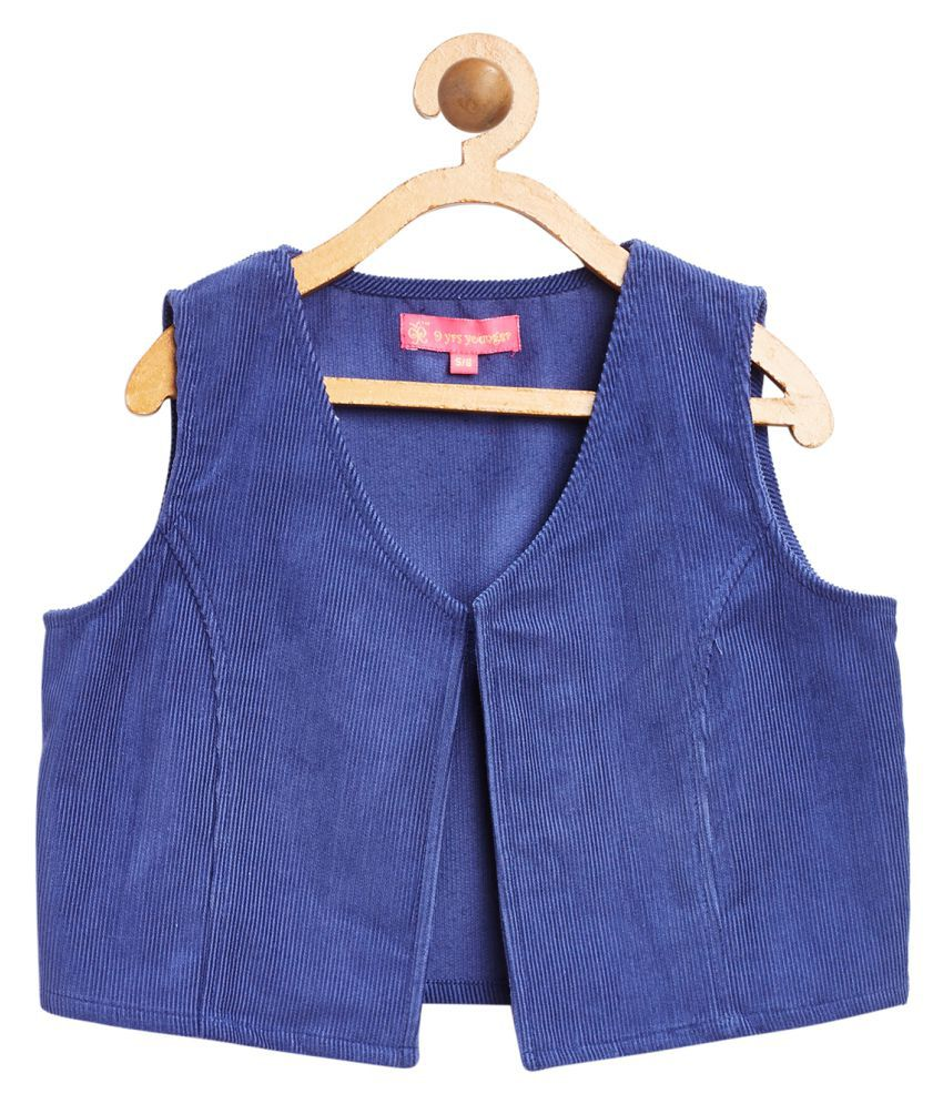 9 Yrs Younger Blue Solid Corduroy Jacket
