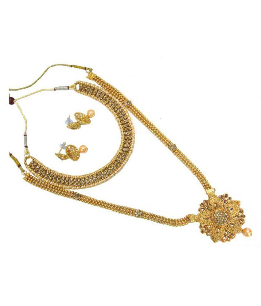 Golden Long Double Stone Jhumka Necklace Set