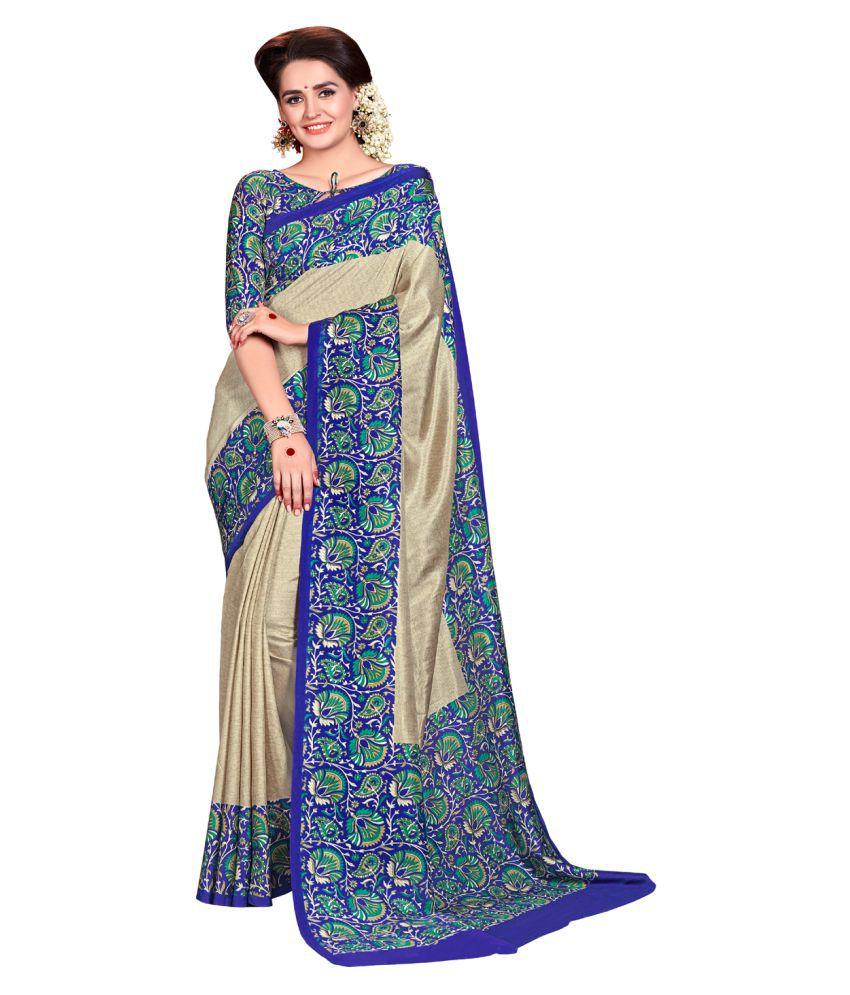 Samvegi Creation Beige Mysore Silk Saree