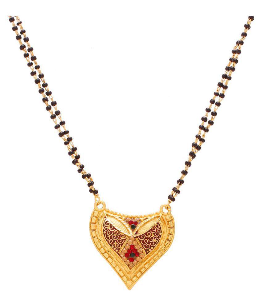 DzineTrendz Gold plated Heartshape design, Meenakari CZ, Ethnic Mangalsutra necklace jewellery Women Girls