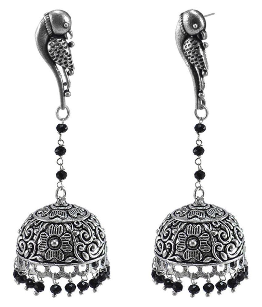 Large Vintage Jewellery Danglers with Black Crystal Beads And Parrot Jhumka Earrings By Silvesto India PG-123027