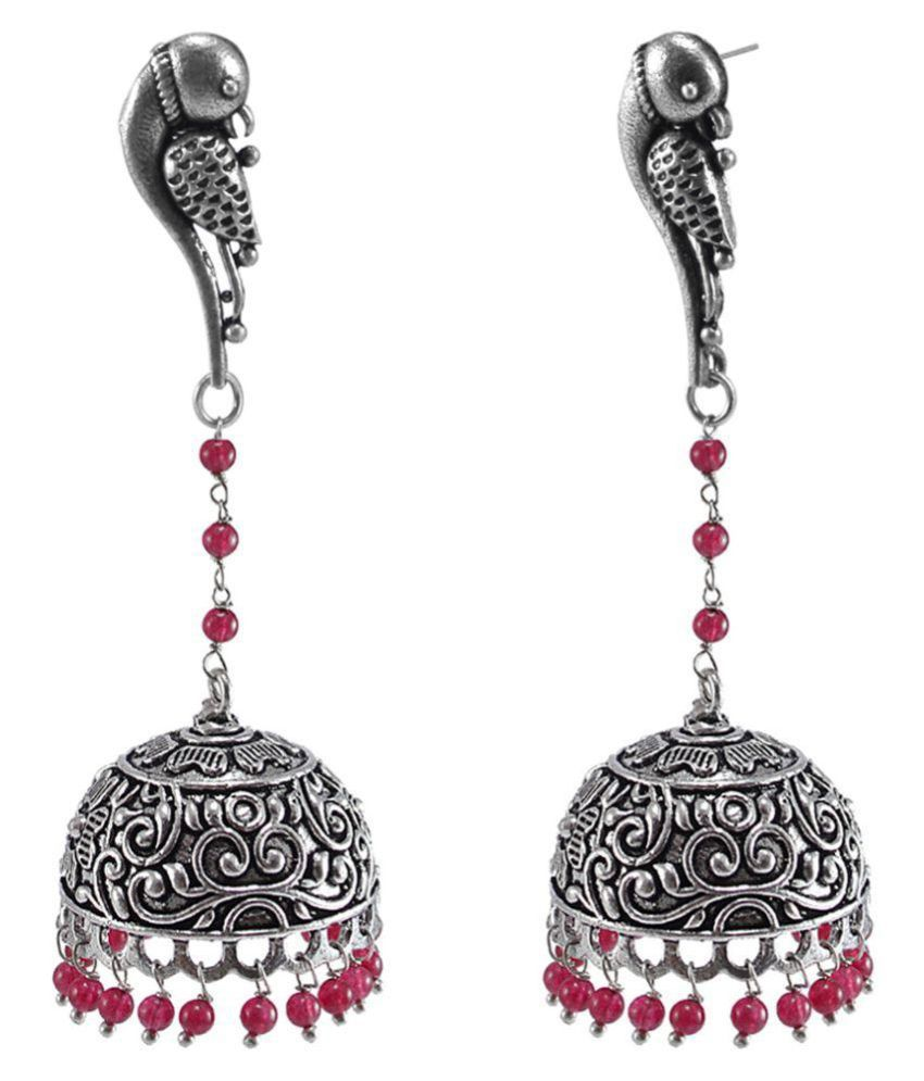 Silvesto India Beautiful Vintage Jaipuri Jhumka Earrings-Parrot Jhumki Studs PG-123007