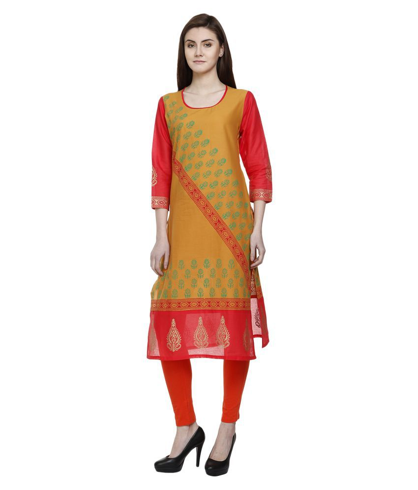 Tamannah Yellow Cotton Straight Kurti
