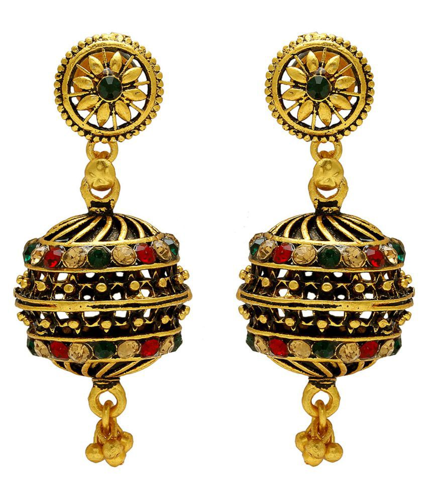 DzineTrendz Gold covered Brass Antique finish Drum Dholki shape Rondell, designer exclusive Ethnic Jhumki earrings for Women girls Traditional