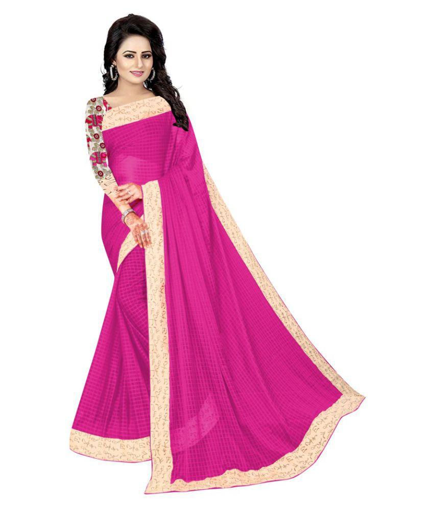 Gopi Creations Pink Lycra Saree