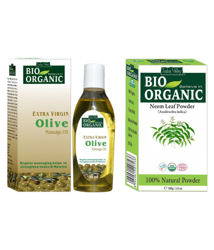 Indus Valley Neem Powder & Olive Oil For Natural Purifying Scalp Treatment