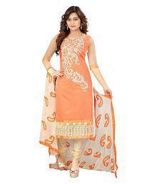 ARSH IMPEX Orange Chanderi Dress Material