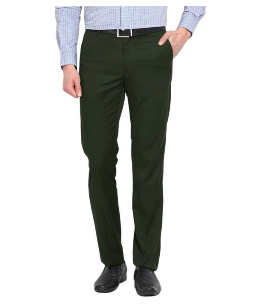 AD & AV Green Regular -Fit Flat Trousers
