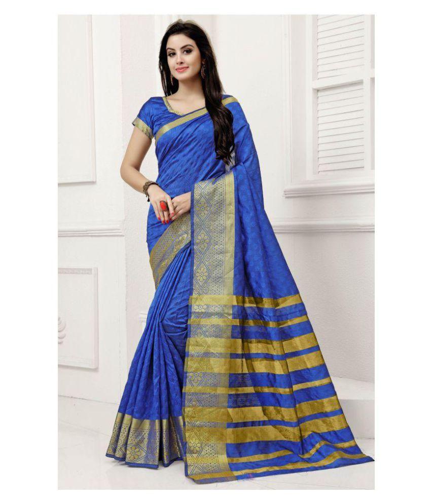 Chakradhar Distributors Blue and Grey Silk Saree