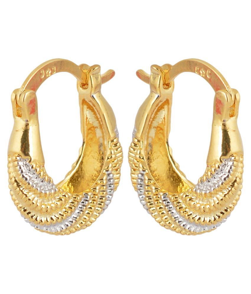 DzineTrendz Gold and Silver two tone Plated Nicks design Brass Hoop Earring