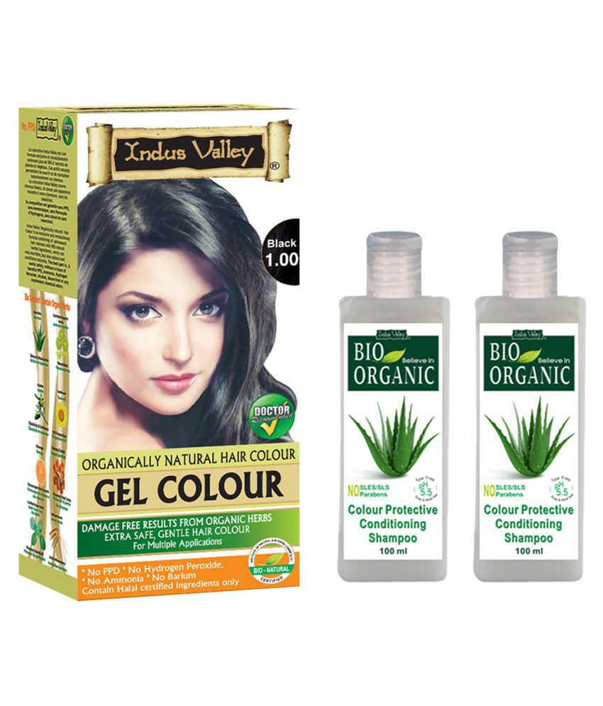 Indus Valley Gel Black1.00 with 2 Colour Protective Shampoo Permanent Hair Color Black 300 ml Pack of 3