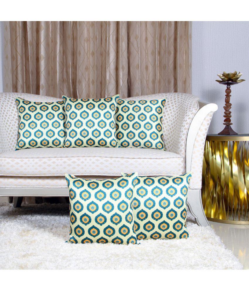 Urban Hues Set of 5 Polyester Cushion Covers 40X40 cm (16X16)