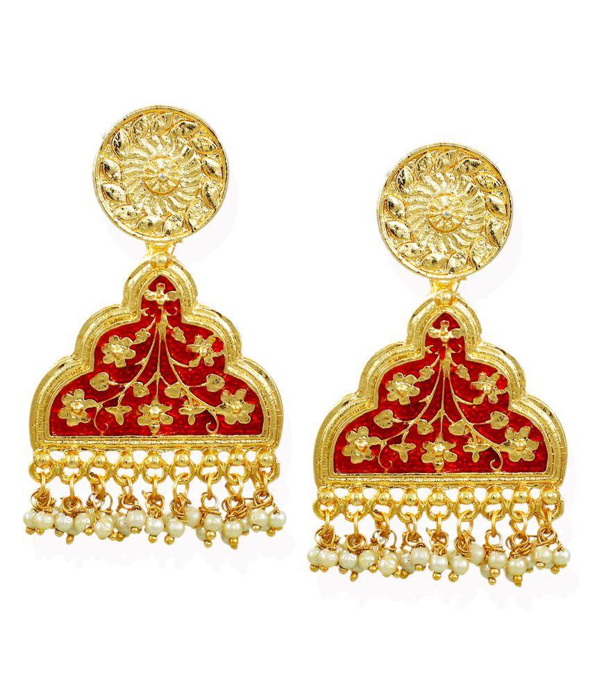Zaveri Pearls Beautifully Enamelled Traditional Dangle Earring-ZPFK6701