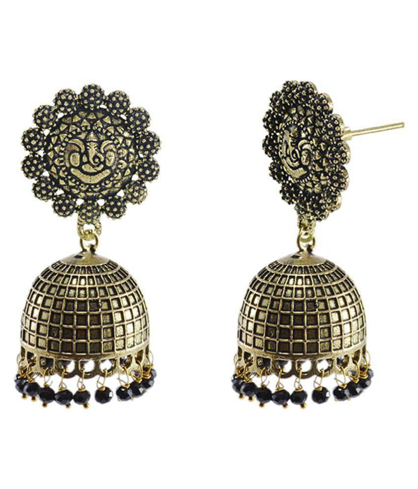 Black Beaded Jaipurn Ganesha Jhumki-Handmade Hook Earrings-Jaipur Jewellery Silvesto India PG-126430