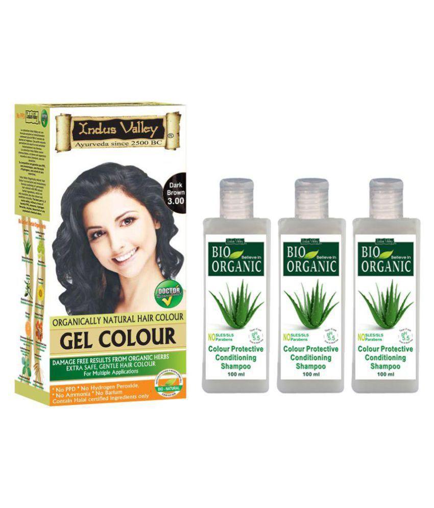 Indus Valley Gel Dark Brown3.00 & 3 Colour Protective Shampoo Permanent Hair Color Dark Brown 3.0 500 ml Pack of 4