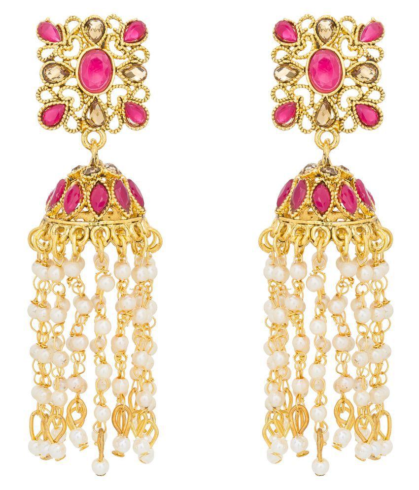 Aadita Traditional Stylish Gold Plated Pearl Fancy Party Wear Jhumka / Jhumki Earrings for Girls