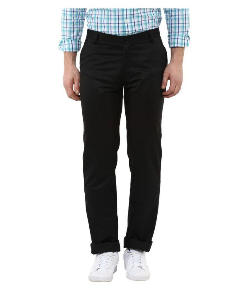 Jedinz Black Slim -Fit Flat Trousers
