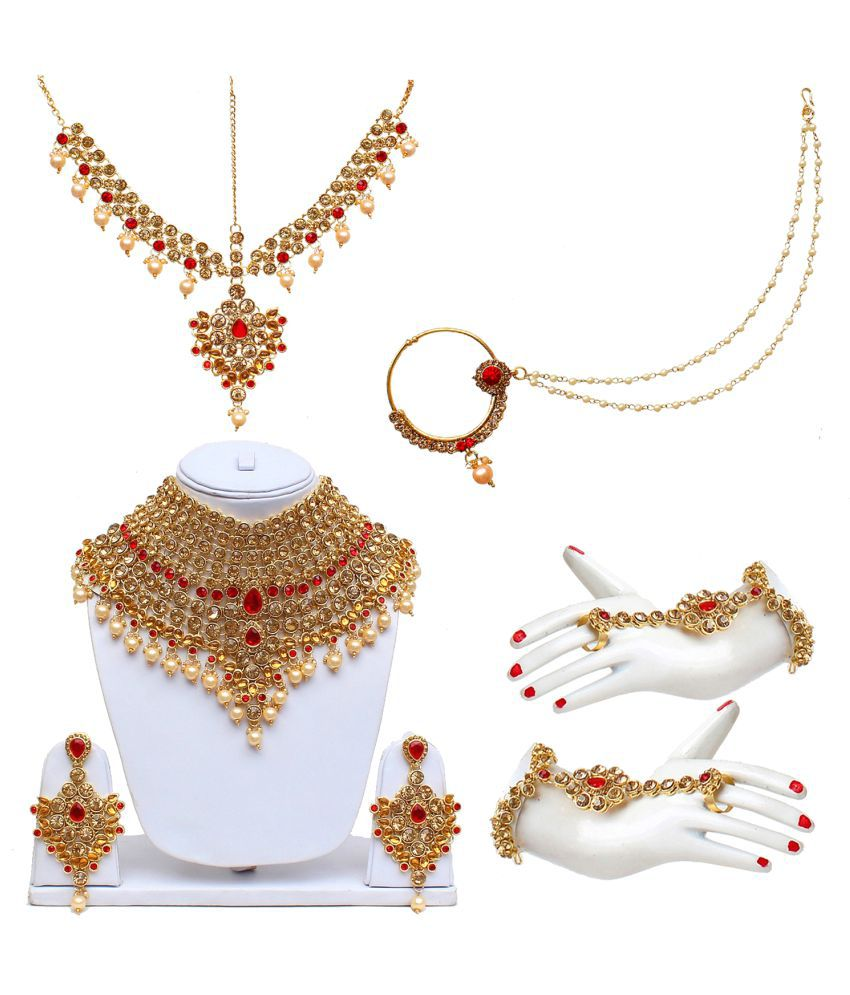 Lucky Jewellery  LCT Golden Red Bridal Dulhan Wedding & Engagement Necklace set With Mang Tikka