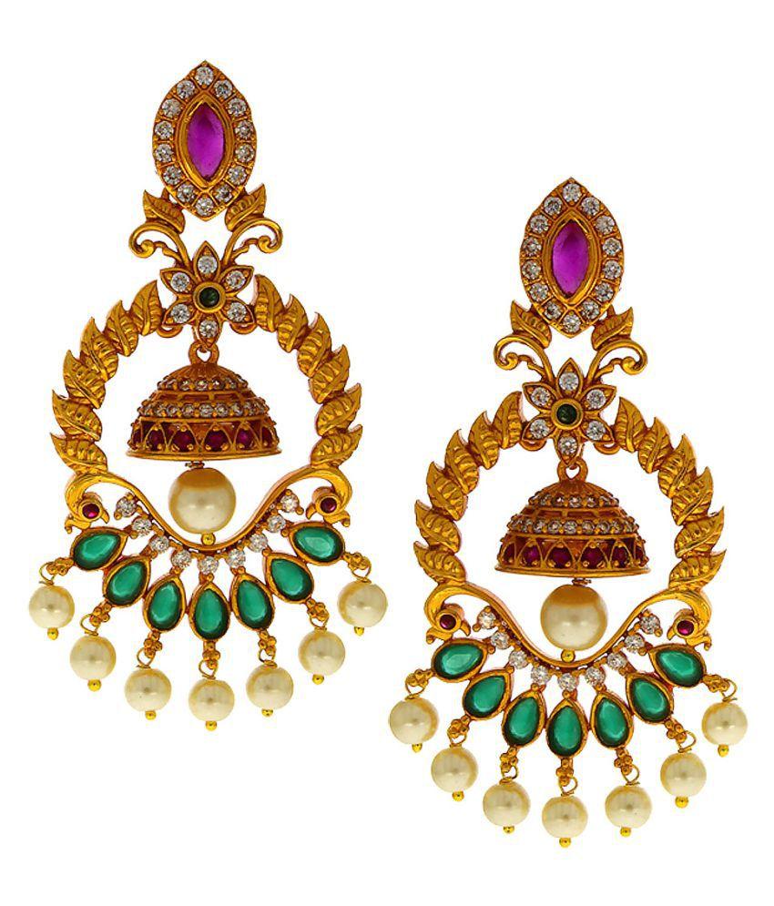 Anuradha Art Gold Finish Studded Shimmering Stone Fancy Designer Traditional Long Earrings For Women/Girls