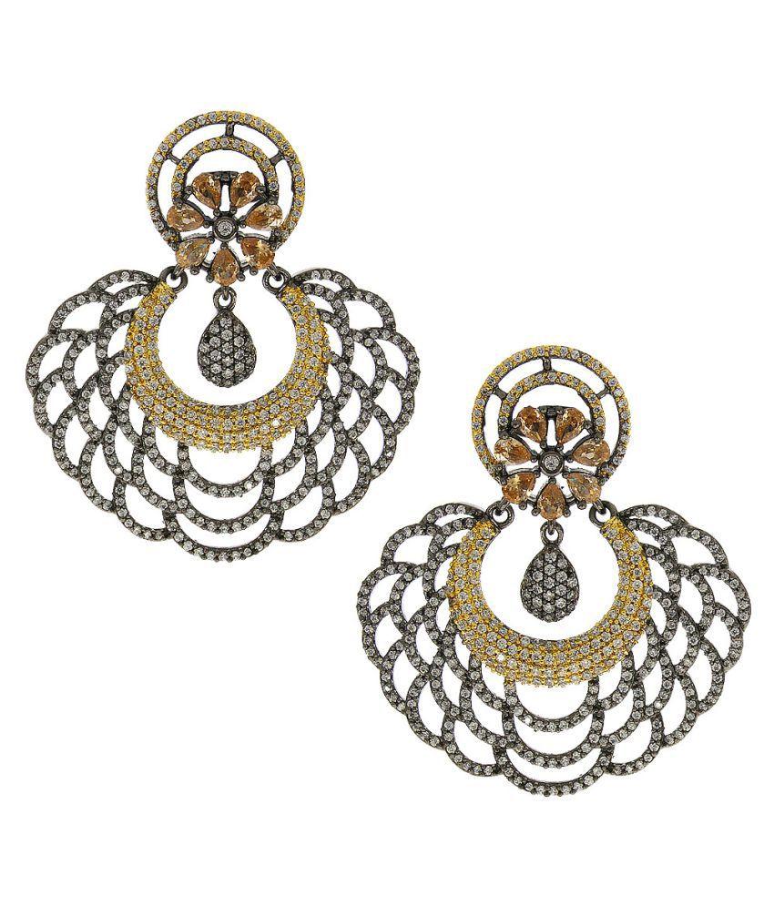 Anuradha Art Silver-Golden Finish Chandbali Styled Very Classy Traditional Earrings For Women/Girls
