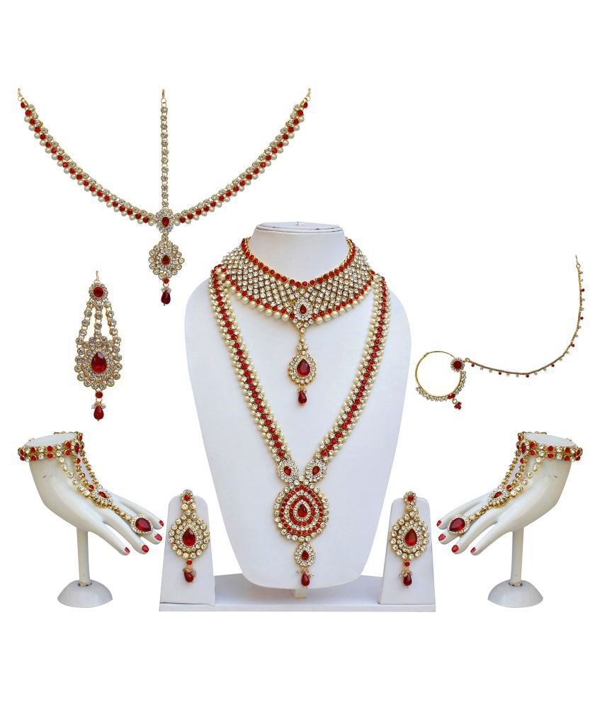 Lucky Jewellery Bridal Designer Red Color Pearl Stone Wedding Set For Girls & Women