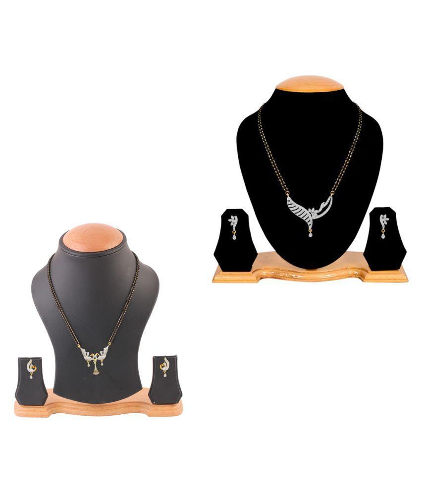 Aabhu Classic Combo of 2 Amercian Diamond Mangalsutra with Earrings Jewellery Set for Women